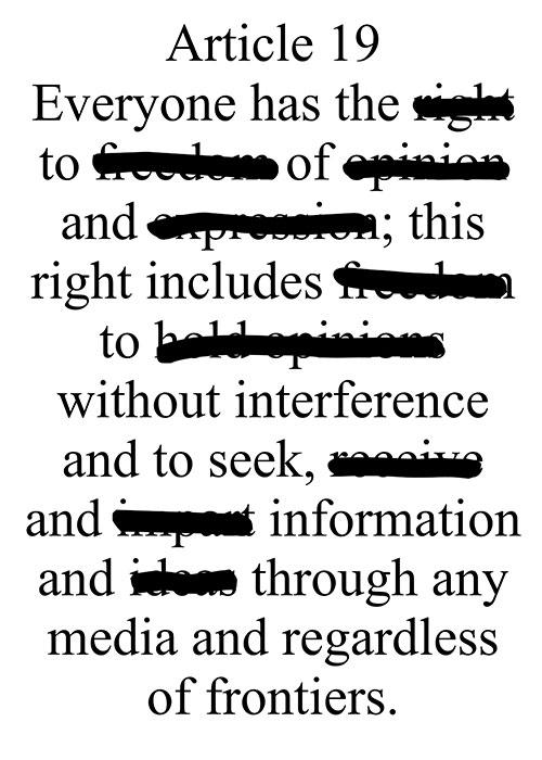 Article 19, 2009, computer grafica, cm 50x70 Poster selezionato tra i vincitori al concorso internazionale Poster4Tomorrow sul tema della libertà di espressione;