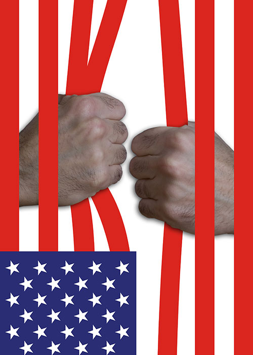 """Guantanamo, 2008, foto e computer grafica, cm 50x70 Poster vincitore del concorso internazionale di arte digitale """"L'onda"""" nelle sezione """"Votospeciale online"""";"""