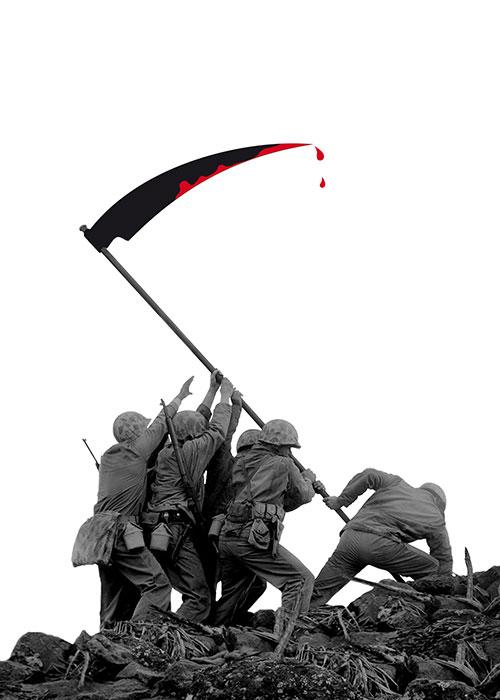 """Guerra = Morte, 2011, foto e computer grafica, cm 50x70 poster selezionato tra i finalisti del concorso internazionale """"Mother Tongue"""" Indigo Design Network - Icogarda;"""