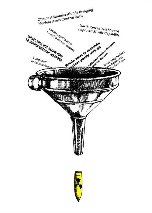 """Parole... parole, 2009, disegno e computer grafica, cm 50x70 Poster selezionato nell'ambito del concorso internazionale """"Good 50x70"""" sul tema dell'emergenza nucleare"""