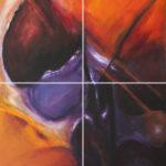 Cromatismo n. 15, 2016, acrilico e tecniche miste su tavola, cm 42×51 (x 4)